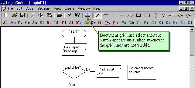 How to switch grid lines on and off in LogicCoder